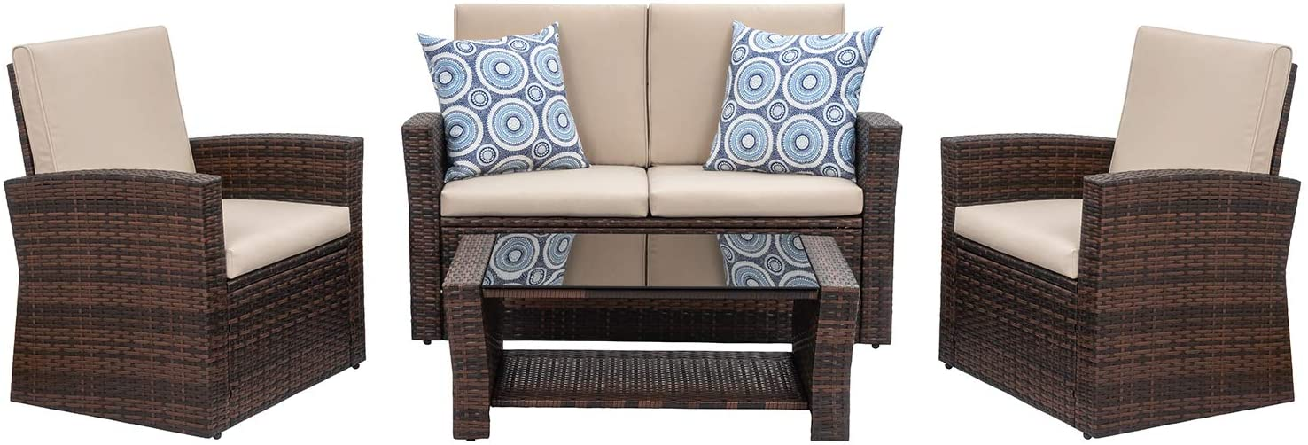 Shintenchi 4 Piece Outdoor Patio Furniture Sets Garden and Poolside Outdoor Patio Conversation Sets Wicker Rattan Sectional Sofa Couch with Glass Coffee Table for Backyard Porch Brown