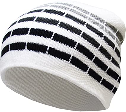 e5b06cf2691d5 Amazon.com  KBW-02 WHT Dotted Stripes Short Beanie Skull Cap Solid Color  Men Women Winter Ski Hat  Sports   Outdoors