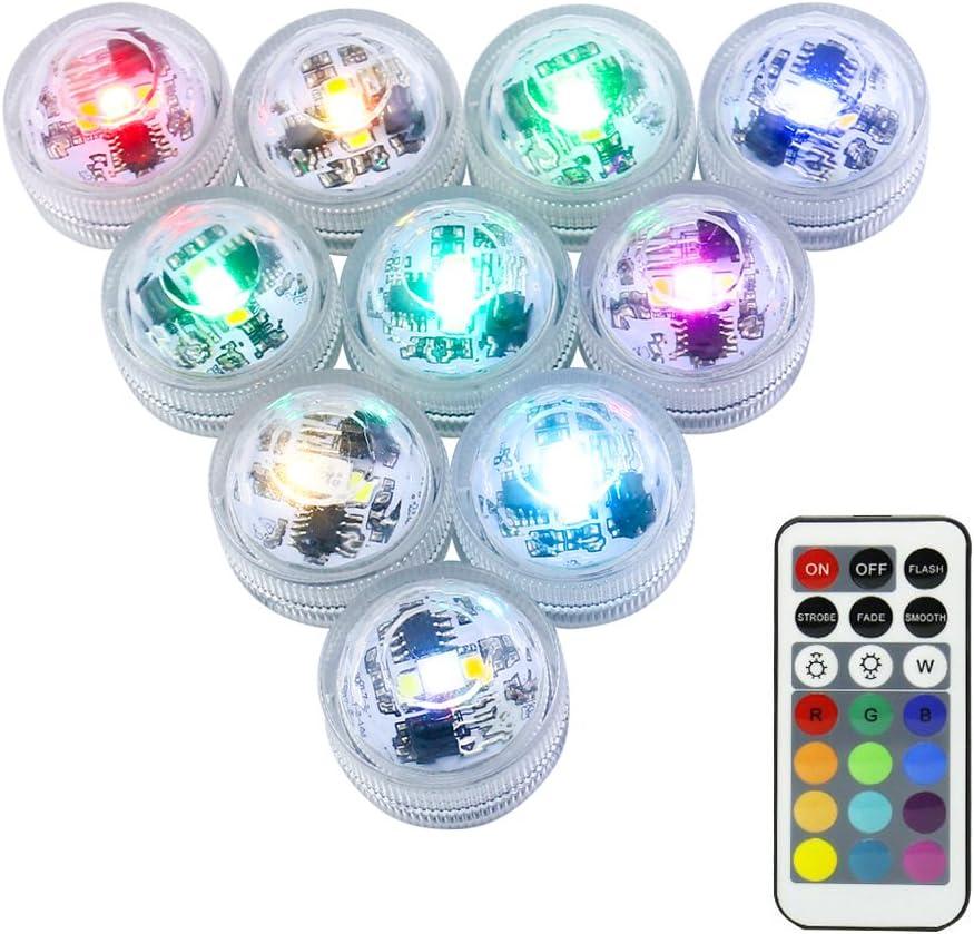 Mini RGB LED Luz Sumergible,LUXJET® Color Cambio Lámpara Impermeable Subacuática Acento Luz con Control Remoto IR Para Estanque,Acuario,Vaso,Tazones, Piscina, Acuario(10er Pack)