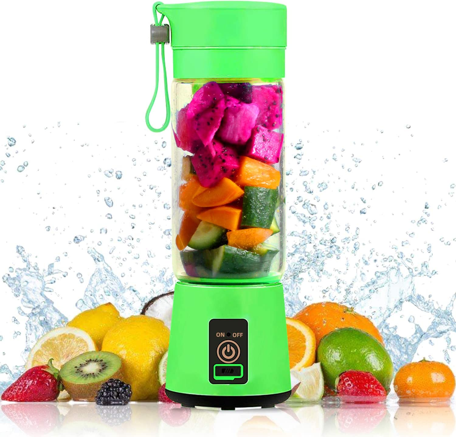 VOKUA Portable Blender, 4000mAh USB Rechargeble Mini Smoothies Juicer Cup Fruit Mixing Machine (380ml), Straws Set and Cleaning Brush Included, Perfect for Making Smoothies, Milk Shakes, Fruit Juice