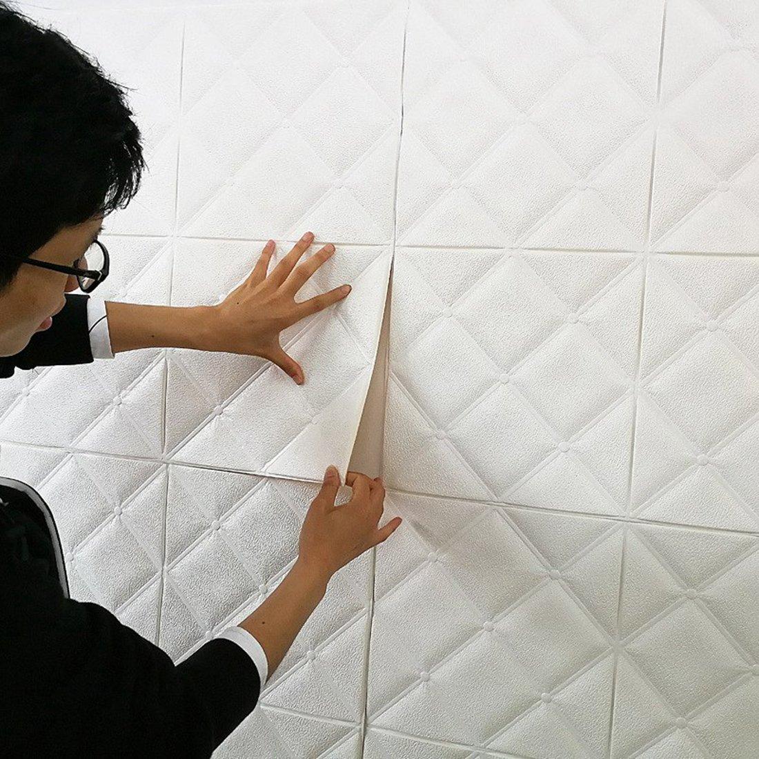 (Enerhu)3D壁紙 3D壁紙パネル 3Dウォールステッカー 壁紙シール ウォールステッカー DIY 簡単貼付シール 防水 壁紙 健康 補修簡単 ダイヤモンド柄 賃貸OK 幼稚園 60*60cm 10枚入り ホワイト B07DS2Q7V5 13770 60*60cm(10枚入り)|ホワイト ホワイト 60*60cm(10枚入り)
