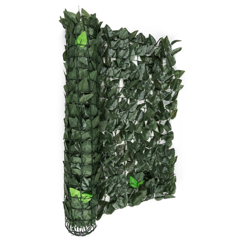 Blumfeldt Fency Bright Leaf Recinto Giardino Terrazze Balconi Antivento Privacy (300 x 100 cm, Fitto Fogliame, Montaggio rapido) verde Scuro