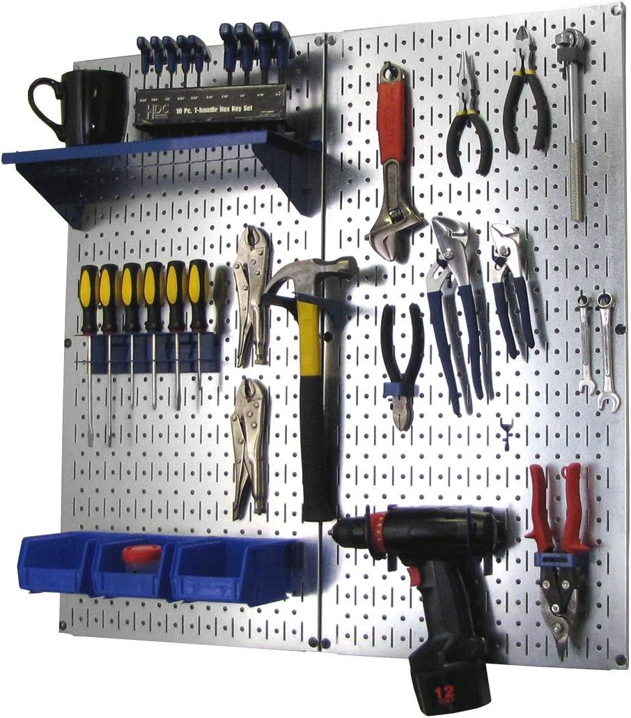 Wall Control Metal Pegboard Organizer Utility Tool Storage and Garage Pegboard Organizer Kit with Metallic Pegboard and Blue Accessories