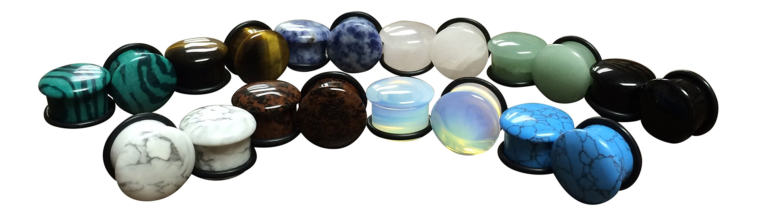 Lobal Domination -All 10 Pair- Stone Plugs Organic Single Flare with O-Rings Ear Gauges Body Jewelry (lot 1) (5/8'' (16mm)) by Lobal Domination