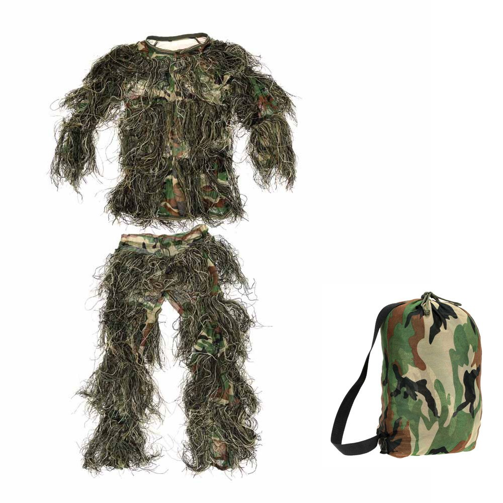 bf0e8cad0bdf2 Amazon.com : Hunting Clothing Children Kids Camouflage Ghillie Suit  Woodland Leaf Ghillie Suits : Sports & Outdoors