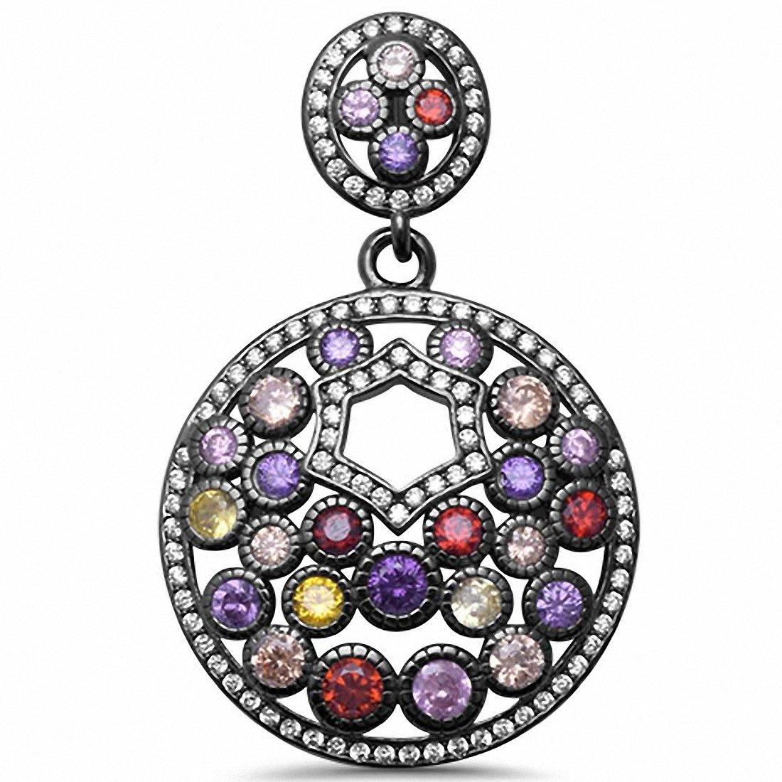 925 Sterling Silver Multicolored /& CZ Pendant Choose Color