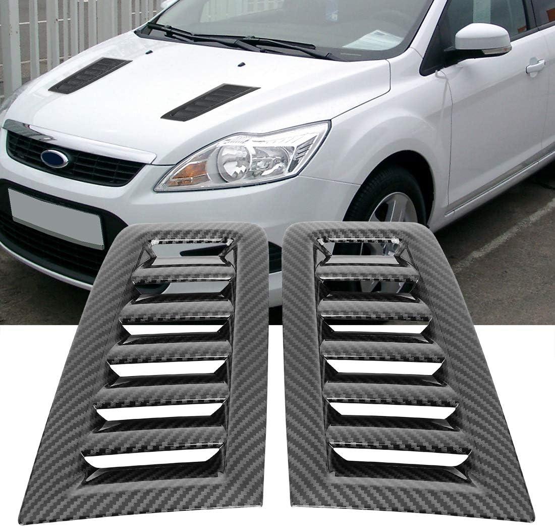 X AUTOHAUX Pair Vent Scoop Decorative Hood Bonnet Vent for Ford Focus Water Transfer Style