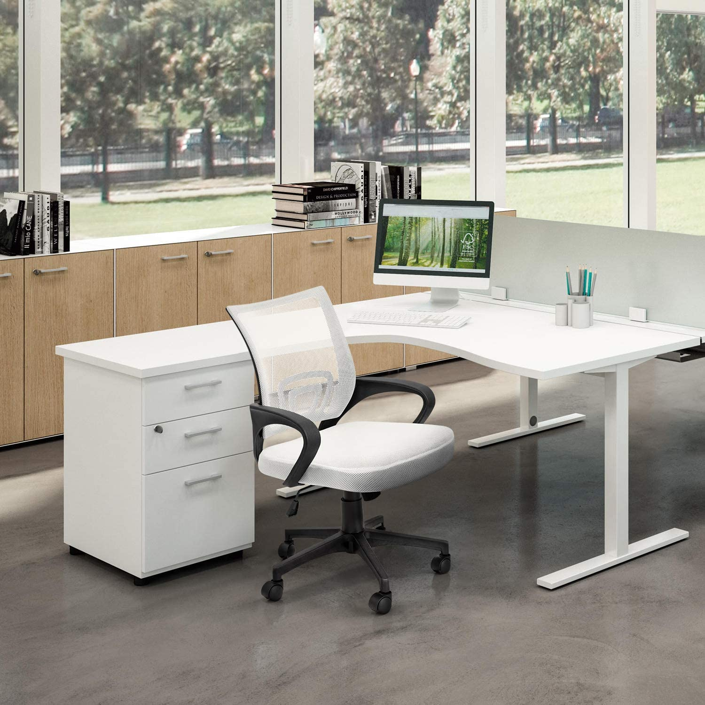 Devoko Ergonomic Office Chair Mid Back Swivel Mesh Chair Height Adjustable Lumbar Support Computer Desk Chair with Armrest Black