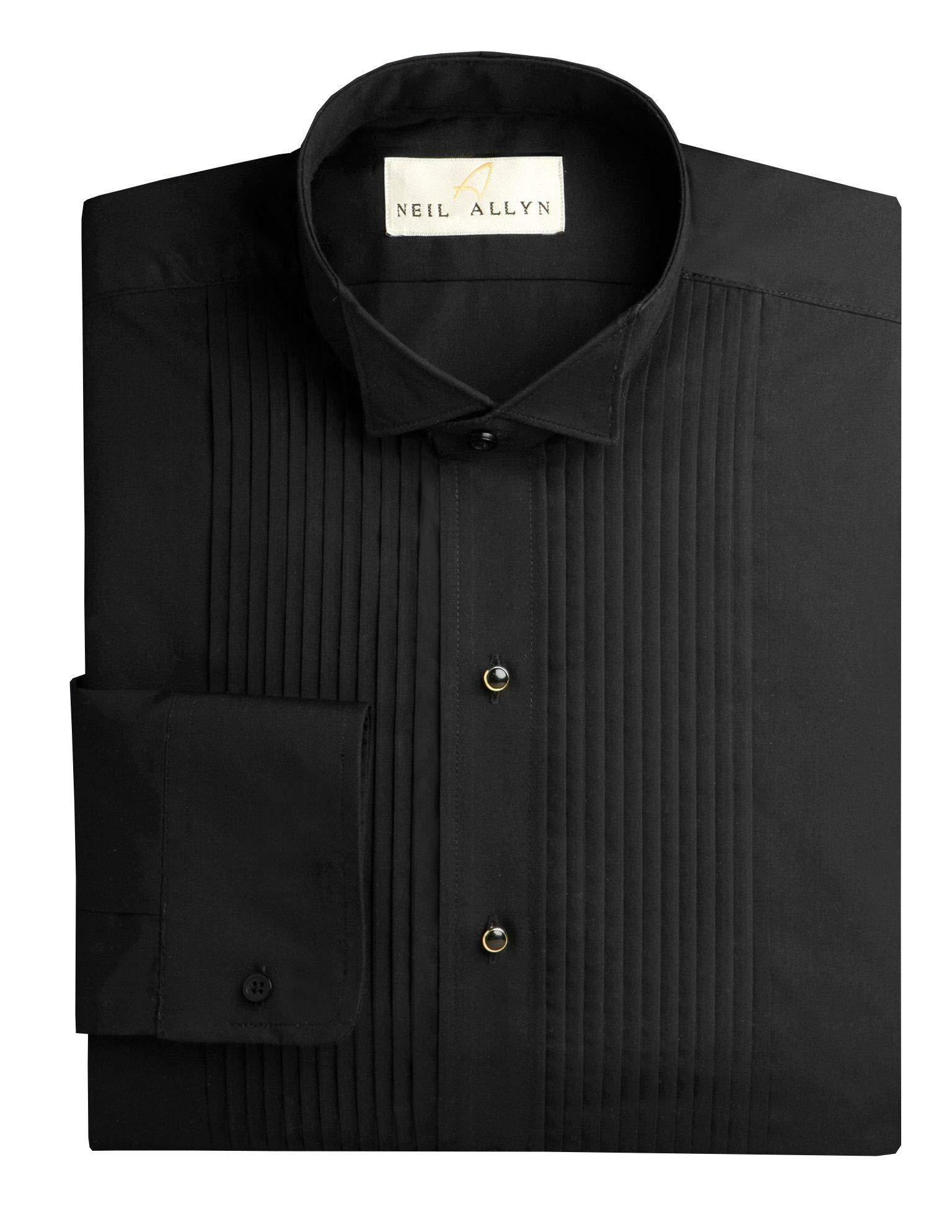 Neil Allyn Men's Black Wing Collar 1/4'' Pleats Tuxedo Shirt-L-32-33 by Neil Allyn
