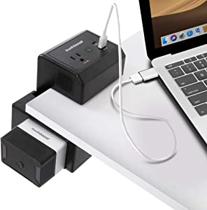 Portable Laptop Charger 100W AC Outlet   Clamp-On Battery Laptop Power Bank Charging Station   AC, USB-C, & USB-A Charging   Compatible with MacBook, Dell, HP, Surface, Lenovo, ASUS, & More