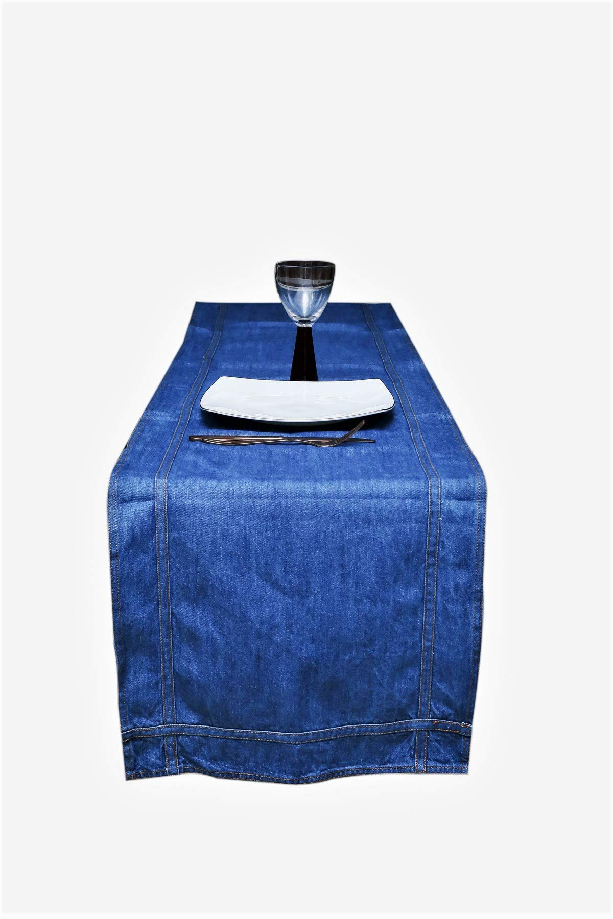 AAYU Trendy Denim Table Runner Placemats | Stone Washed Premium Quality | Perfect for Wedding, Party & Decor American Jeans (16 Inch x 108 Inch, All Over Belt Loop)