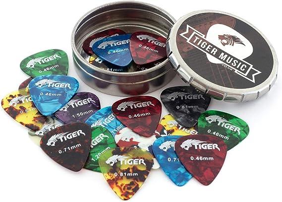 Tiger GAC14 10 - Púas para guitarra en caja, colores surtidos ...