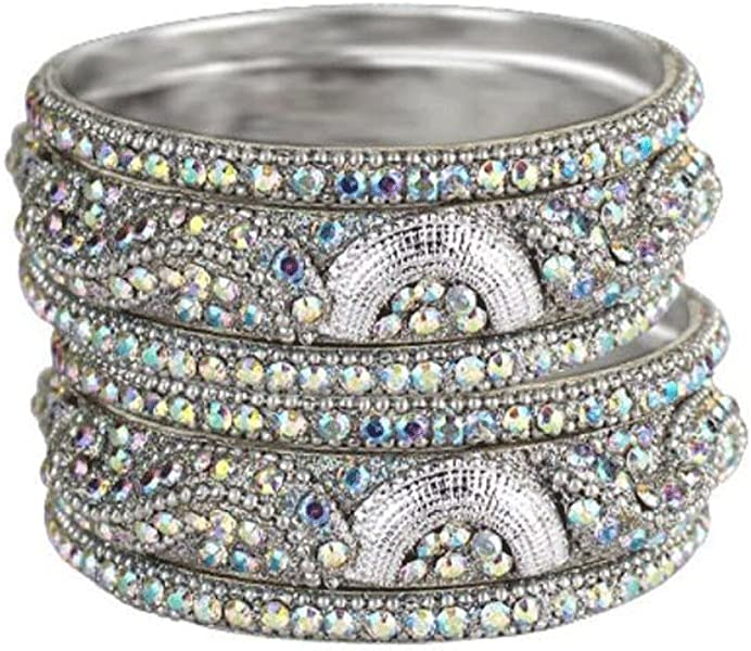 00b17b28199 Amazon.com: Sparkly Crystal Rhinestone Bling Bangle Bracelet Set of 6  AB-Silver: Jewelry