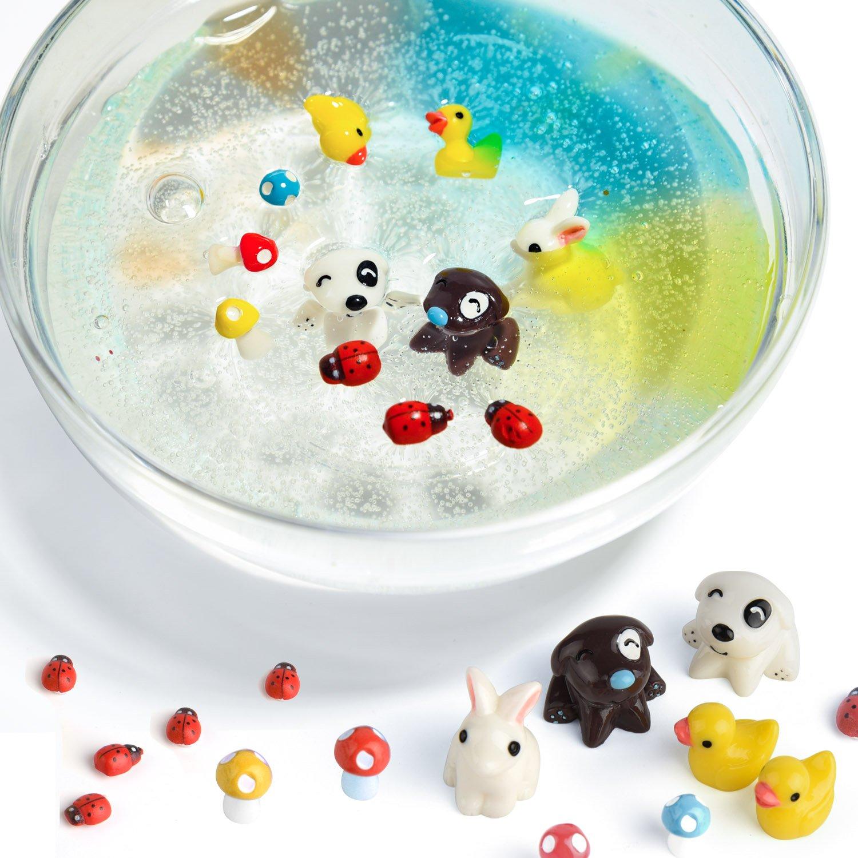 Confettis Fishbowl Perles Venez avec pas de colle Imitation Gold Leaf FEPITO 76 Pcs Slime Accessoires Kit Y compris Mousse Perles Coquille Wobbly Eyes Mod/èles animaux pour DIY Craft Tranches