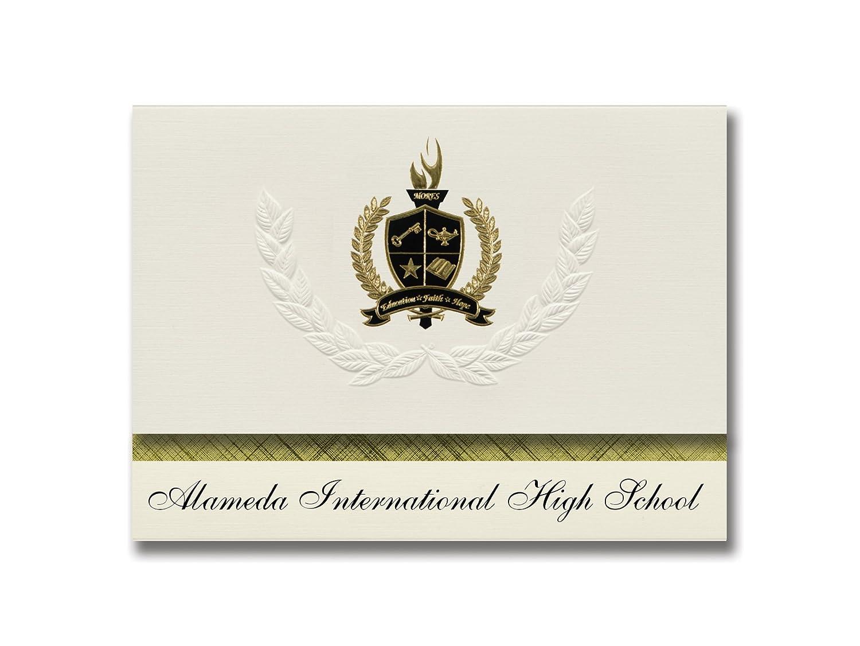 Signature Ankündigungen Alameda International High School (Lakewood, CO) Graduation Ankündigungen, Presidential Elite Pack 25 mit Gold & Schwarz Metallic Folie Dichtung