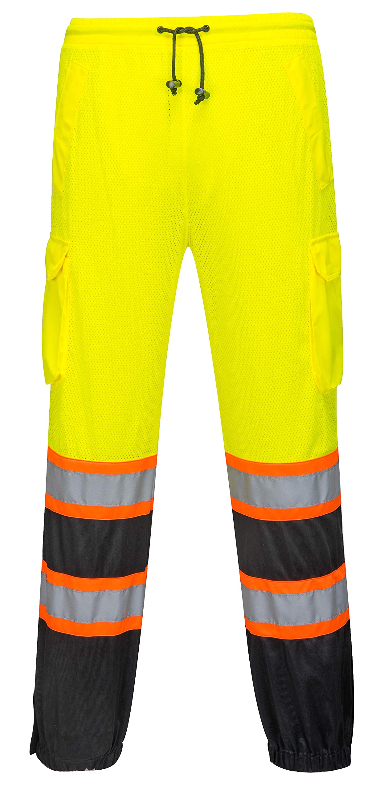 Two Tone Mesh Overpants for Men and Women - Safety Waterproof Work Wear - High Visibility (Large/Extra Large, HiVis Yellow/Black)