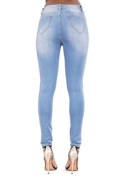 a716aa466279ad Frauen Sexy Mid Taillierte Hellblaue Enge Jeans mit Destroyed-Effekten-EU34:  Amazon.de: Bekleidung