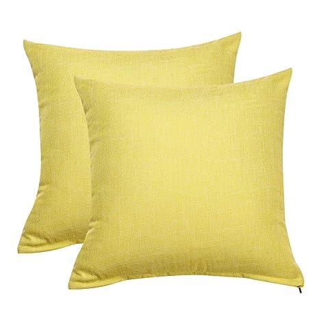 Funda de cojín de Lino con Forro de algodón Blanco para sofá ...
