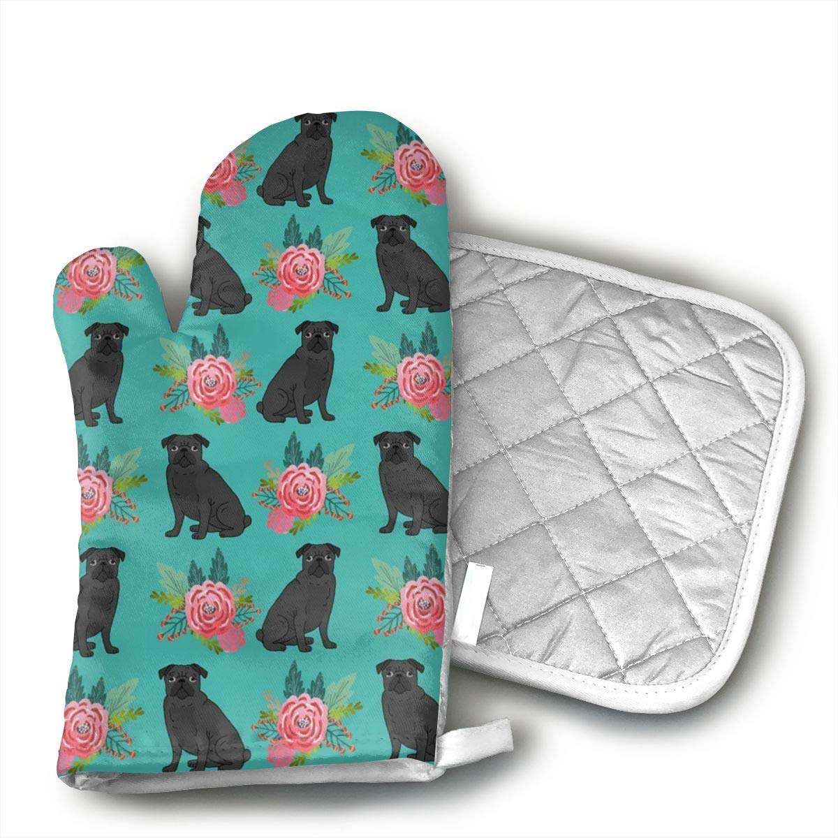 Wiqo9 Black Pug Dog Floral Oven Mitts and Pot Holders Kitchen Mitten Cooking Gloves,Cooking, Baking, BBQ.