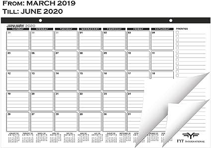 Calendario de escritorio 2018-2019 con dos meses adicionales – Escritorio/ calendario de pared 2019 – Planificador académico