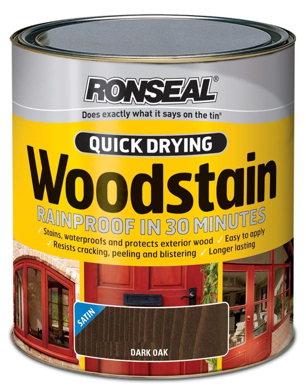 Ronseal Quick Dry Woodstain Satin - Dark Oak 750ml RSLQDWSDO750