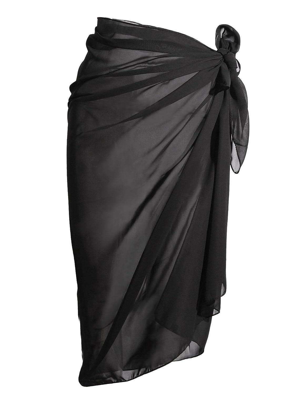 Copricostume Mare Costumi da Bagno Chiffon Sarong Avvolgere Costume da Bagno Copricostume Bikini Spiaggia, Nero
