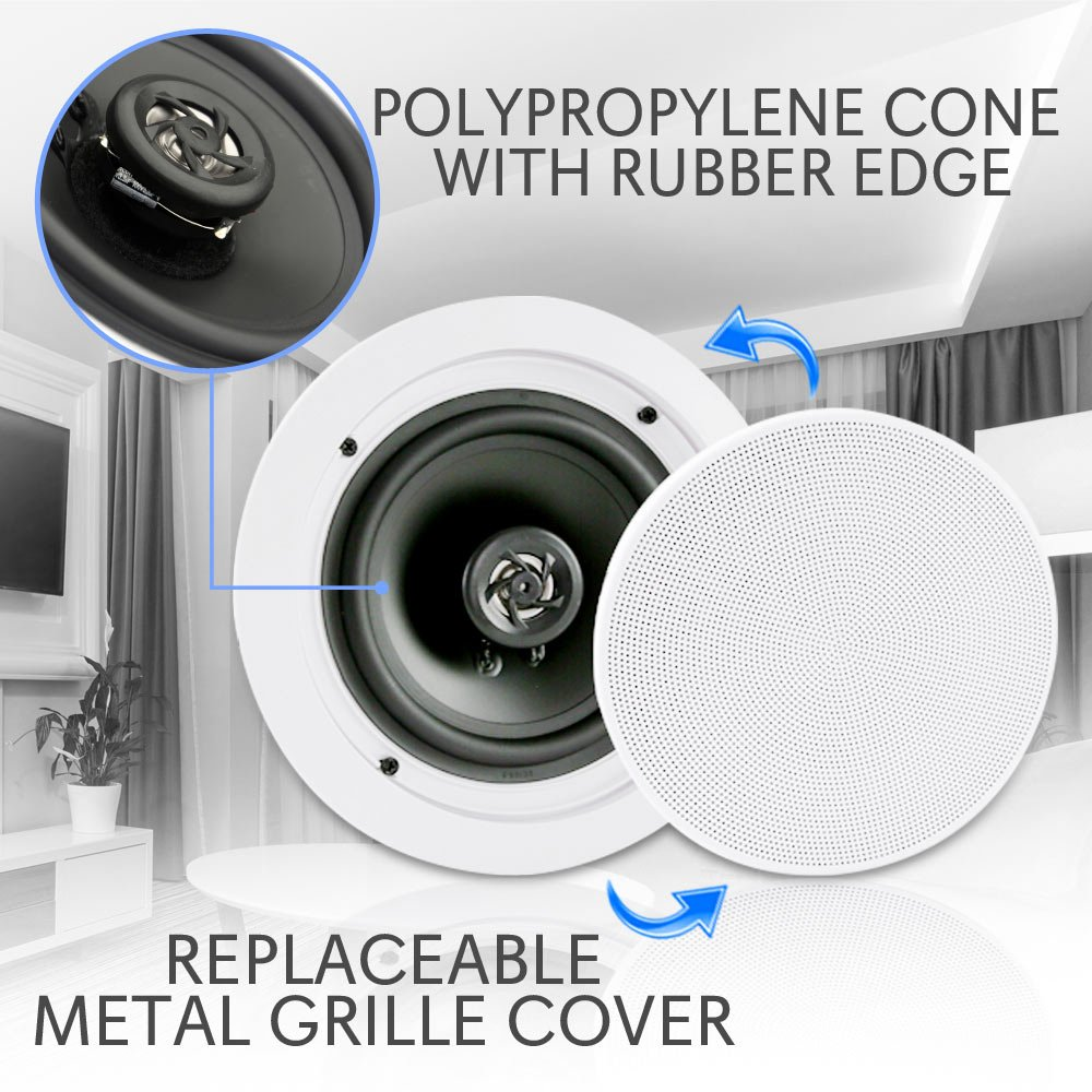 Pyle Pair 65 Bluetooth Flush Mount In Wall Ceiling 2 Way Details About 4 Channel Car Amplifier Wiring Kit8quot Speakerspyle Universal Home Speaker System Spring Loaded Quick Connections Polypropylene Cone Polymer