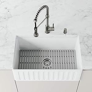 VIGO VGSG3018 27 in x 14.75 in Gray Silicone Kitchen Sink Protective Bottom Grid for Single Basin 30 in Sink