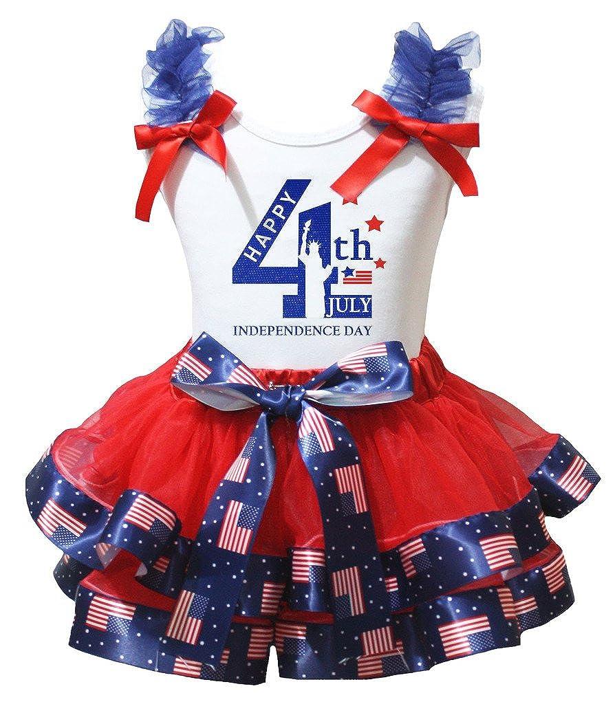 Petitebella Statue of Liberty Print White Shirt Petal Skirt Set Nb-8y
