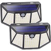 OOWOLF 2Pcs Luz Solar Exterior 128 LED, Foco Solar Exterior con Sensor de Movimiento 300° lluminación Lámpara Solar…