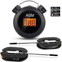AGM Termómetro de Barbacoa, Termómetro Digital inalámbrico para Cocina, con Control Remoto, Bluetooth, con Sondas de Acero Inoxidable, Alarma de Tiempo para ahumar