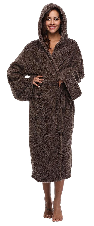 05de7fc9f4 Women s Long Hooded Velvet Bathrobe Ultra-Soft Winter Fleece Plush  Nightgown at Amazon Women s Clothing store