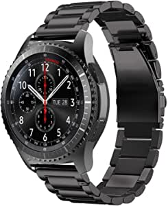 TERSELY Band Strap for Samsung Gear S3 / Galaxy Watch 46mm / Watch 3 45mm, Quick Release 22mm Stainless Steel Metal Replacement Bands for Samsung S3 Frontier/Classic/Galaxy Watch 46mm/Watch 3 - Black