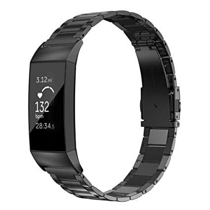 Wearlizer Stainless Steel Band Compatible for Fitbit Charge 3 Bands/Charge  3 SE Women Men,Ultra-Thin Lightweight Replacement Band Strap Wristbands