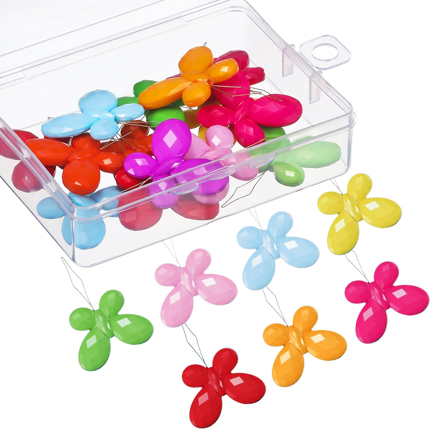 TecUnite 20 Pieces Butterfly Plastic Needle Threaders with Clear Box, Assorted Colors 4337013476