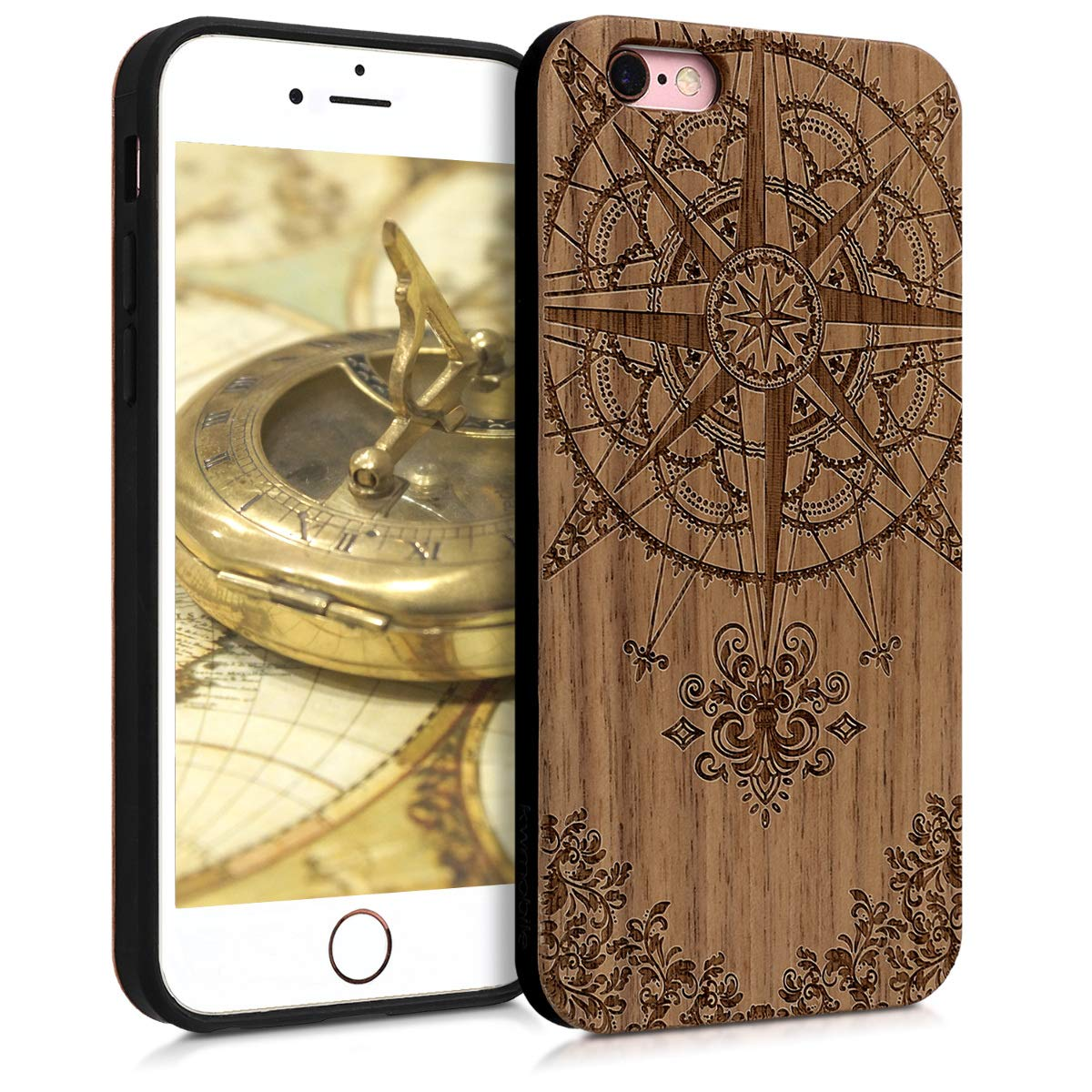 kwmobile Wooden Protection case for Apple iPhone 6 / 6S - Hard case with TPU Bumper Baroque Compass Walnut