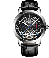 AILANG 2606LK Mens Self-Winding Auto Mechanical Skeleton Leather Wrist Watch