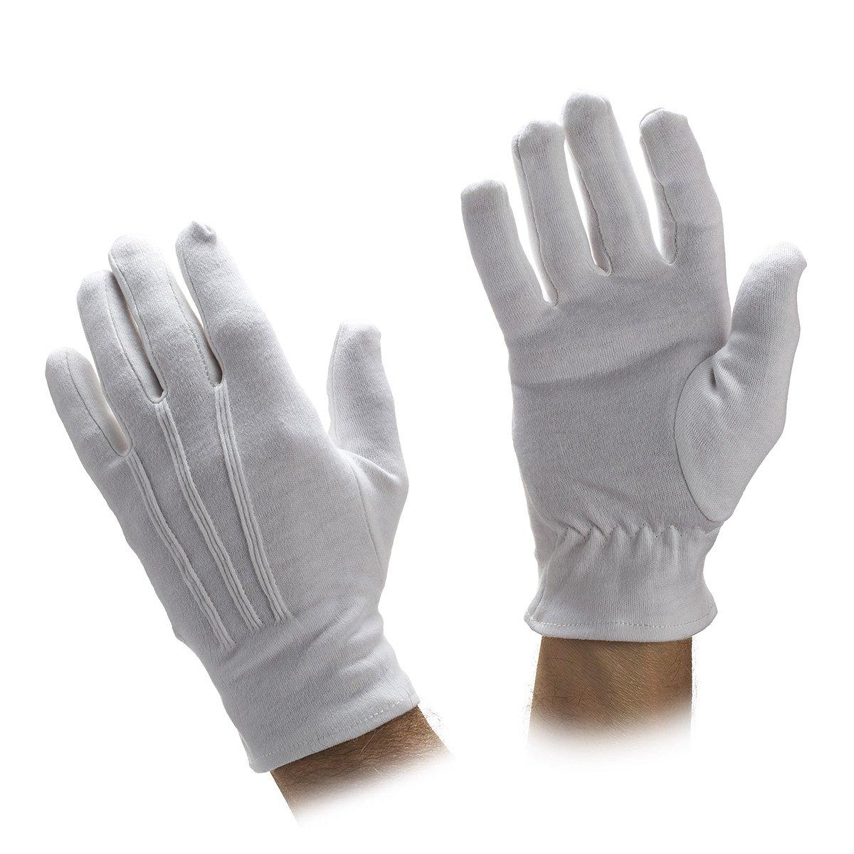 White or Black Cotton Gloves-sold By Dozen Pair (XXXL, White)