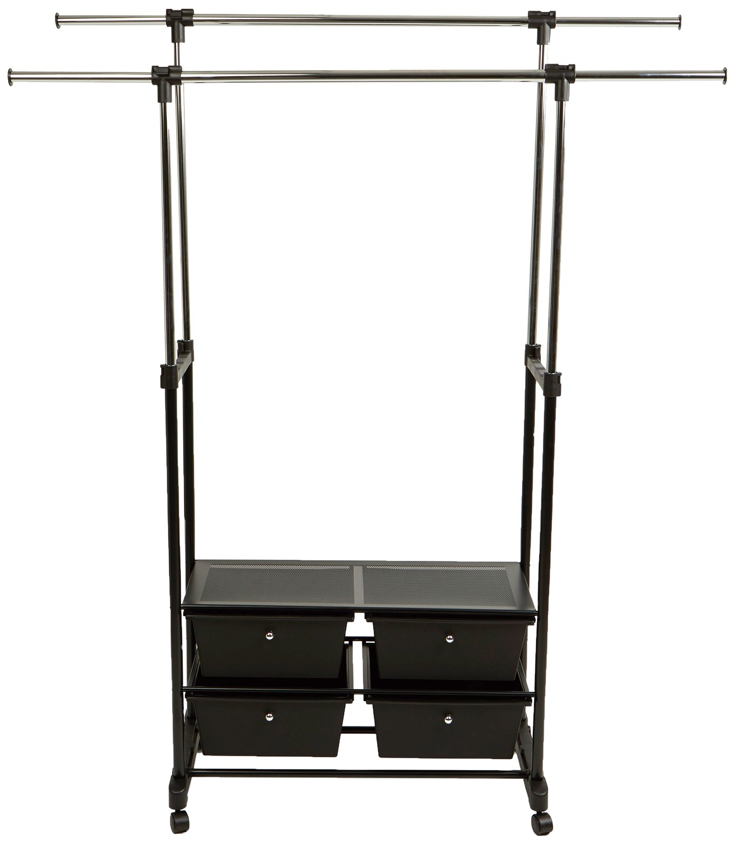 Mind Reader Double Rail Clothing Garment Rack with 4 Bottom Drawers for Storage, Commercial Grade, Heavy Duty, Black