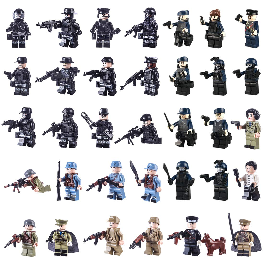 FutureShapers 34er Set Mini Soldaten Figuren SWAT Team Armee Bausteine Minifiguren Polizei Spielzeug Set Adventskalender Inhalt fü r Kinder