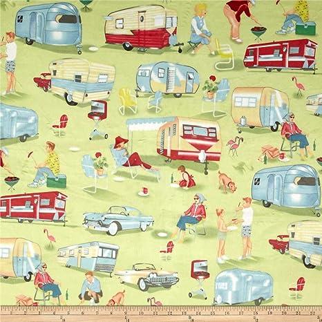Camper Fabric Timeless Treasures YARD RV Camping Trailer Toss Black