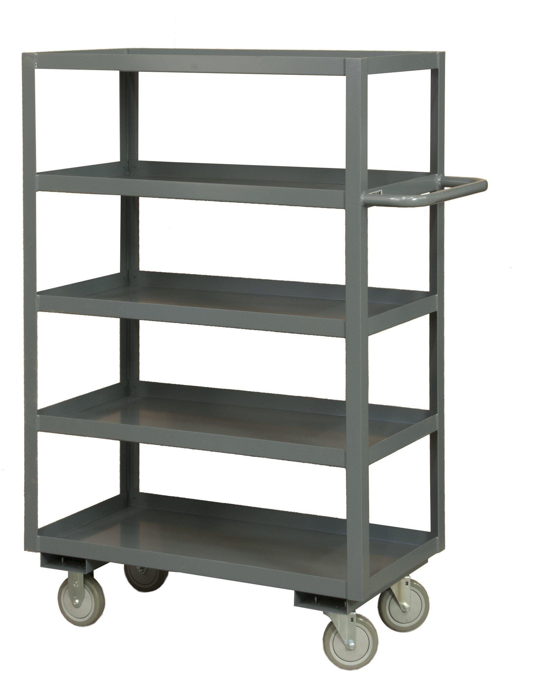 Durham 14 Gauge Steel Rolling Service Stock Cart, RSC-2436-5-95,  1200 lbs Capacity,5 Shelves