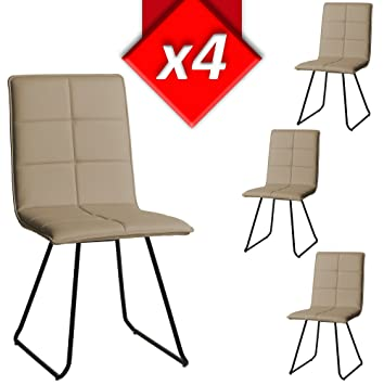 VS Venta-stock Pack 4 sillas tapizadas de salón Florencia Color ...