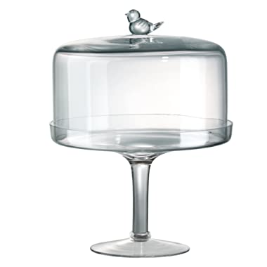 Songbird Pedestal Cake Stand With Dome, 11 inches high by 10 inch wide