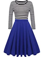 ACEVOG Women's Christmas Vintage Stripes Patchwok A-line Long Sleeve Cocktail Fit and Flare Skater Dress