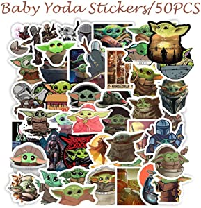 50 Pack GregCo Baby Yoda Stickers, Baby Yoda Mandalorian Sticker Pack, Decals for Laptop, Hydro Flask, Skateboard or Water Bottles