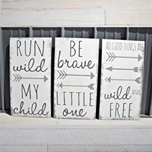 DONL9BAUER Wood Framed Plaque Run Wild My Child Be Brave Little One All Good Things are Wild and Free Mural Farmhouse Rustic Wood Sign Wall Decor Perfect for Bar Office & Home