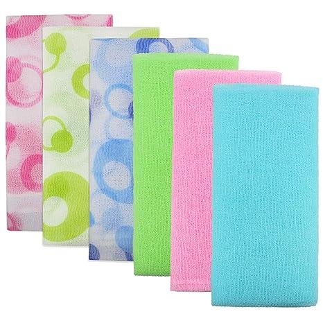 6 toallas de baño exfoliantes de 35 pulgadas para mujeres y hombres, de la marca