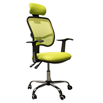 HomCom Adjustable Mesh High Back Computer Desk Office Task Chair W/  Headrest   Lime Green