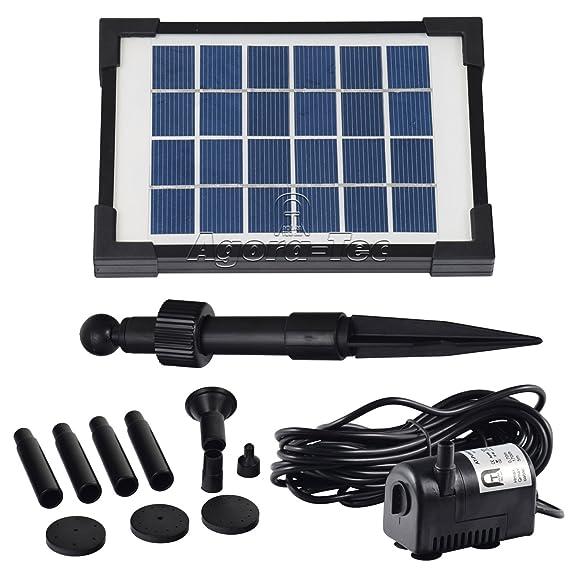 Agora-Tec® AT-2W Solar Teichpumpe 2 Watt Hmax.: 170l/h Fontainenhöhe: 0,65m für Gartenteich oder Springbrunnen